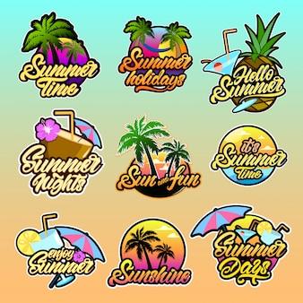 Coloridos logotipos de verano con letras.