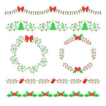 Coloridos marcos y bordes verdes y rojos