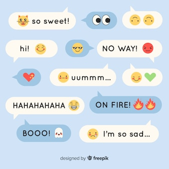 Coloridos mensajes de diseño plano que contienen emojis