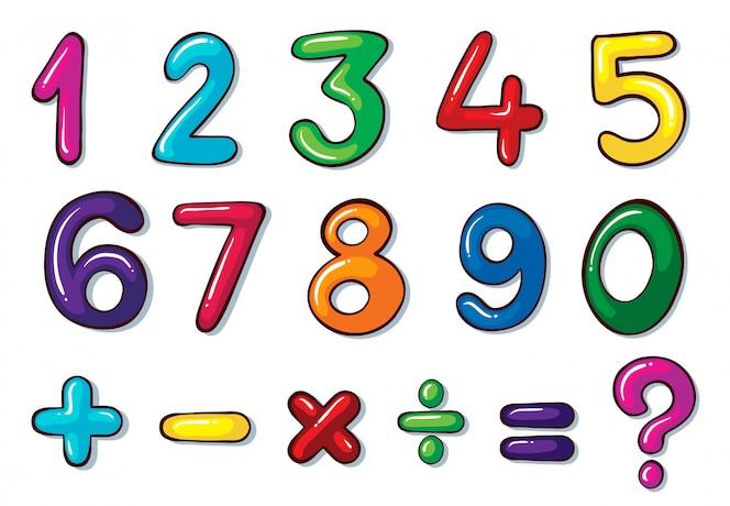 Coloridos números y operaciones matemáticas