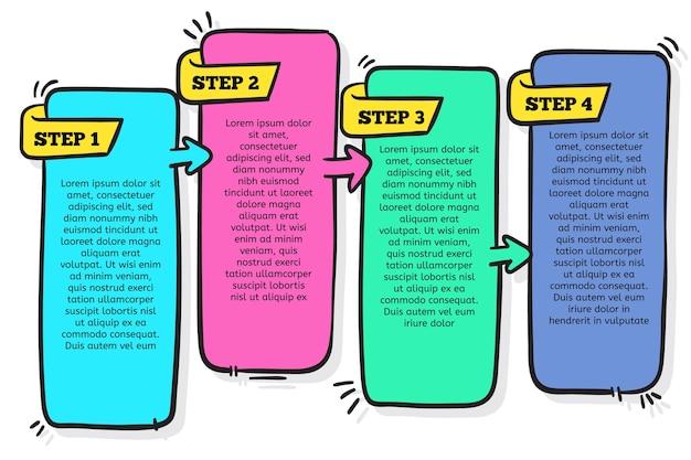Coloridos pasos infográficos dibujados a mano