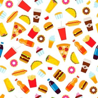 Coloridos patrones sin fisuras de comida rápida.