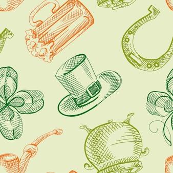 Coloridos patrones sin fisuras del día de san patricio con símbolos tradicionales dibujados a mano y elementos festivos