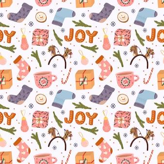 Coloridos patrones sin fisuras con elementos tradicionales de invierno para navidad