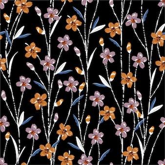 Coloridos patrones sin fisuras con flores del prado con tallo de línea de cepillo de mano blanco