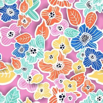 Coloridos patrones florales sin fisuras