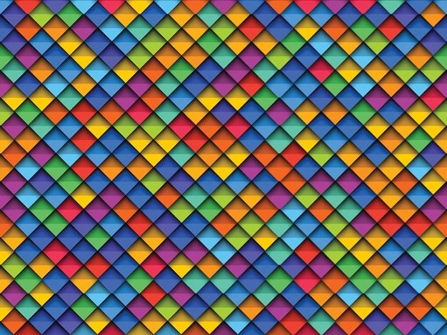 Coloridos patrones geométricos sin fisuras con elementos realistas de corte de papel