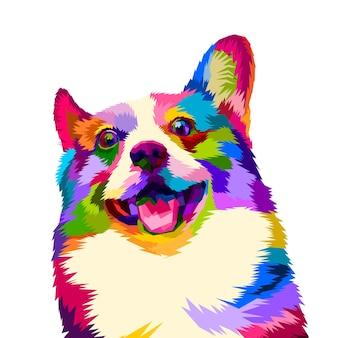 Coloridos perros felices sonríen bellamente con estilo pop art