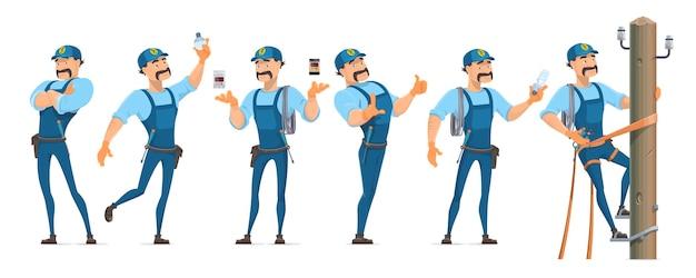 Coloridos personajes de electricista en diferentes poses con equipo profesional y maestro trabajando en poste de energía aislado