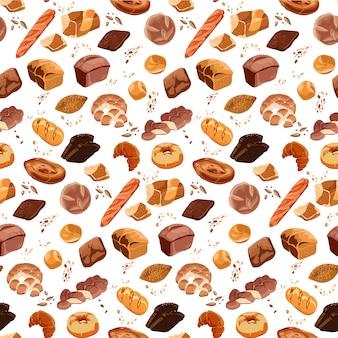 Coloridos productos de panadería de patrones sin fisuras