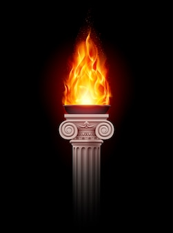 Columna con fuego