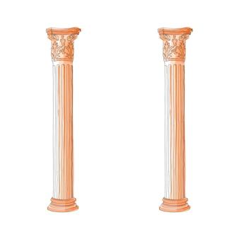 Columna griega estilizada del doodle columnas corintias jónicas dóricas