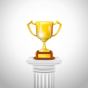 Columna jónica con trofeo de copa.