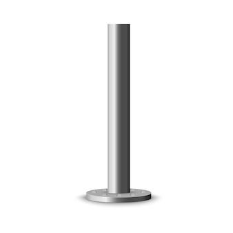 Columna de metal. poste metálico, tubo de acero de varios diámetros instalado se atornilla sobre una base redonda aislada