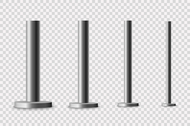 Columna de metal poste de poste de metal, tubería de acero de varios diámetros instalados están atornillados en una base redonda aislada sobre un fondo transparente.