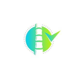 Columna vertebral clínica vector logo plantilla color verde forma redonda diseño de icono plano moderno