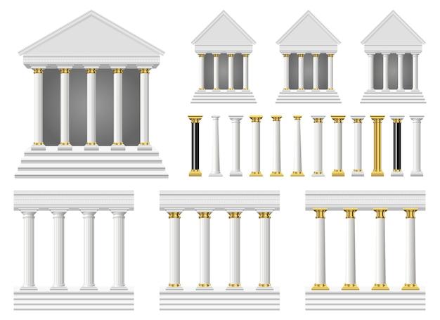 Columnas antiguas y templo, aislado sobre fondo blanco.