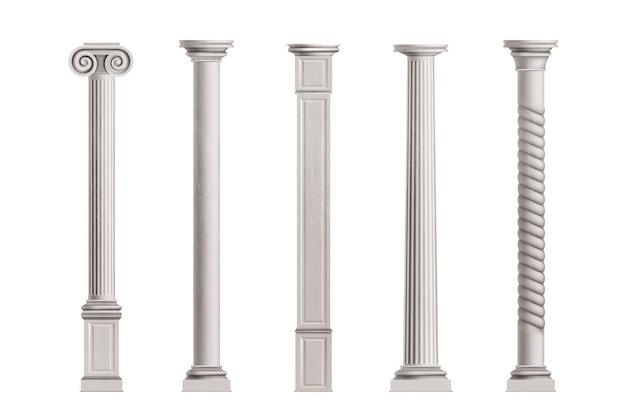 Columnas cúbicas y cilíndricas de mármol blanco piedra con superficie lisa y texturizada.