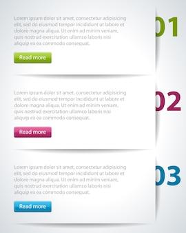 Columnas de etiquetas de infografía con banner de números.
