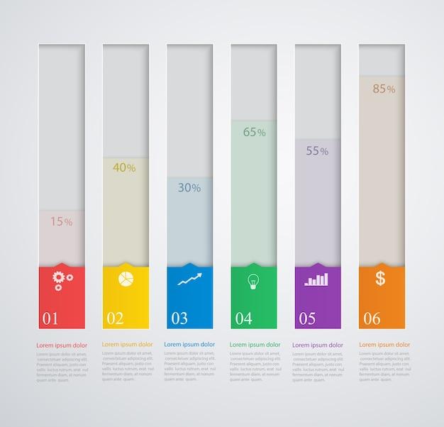 Columnas de plantilla con iconos de negocios diseño de elementos web y móvil