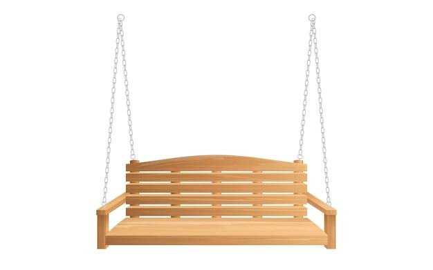 Columpio de porche de madera colgando de cadenas