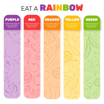 Coma un diseño infográfico del arco iris