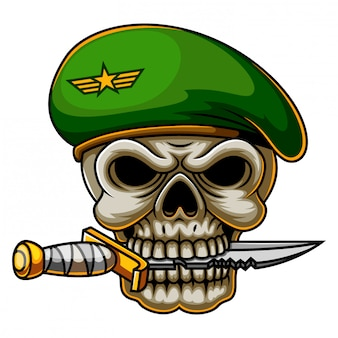 Comando militar cráneo ejército en boina