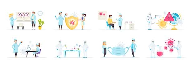 Combate la pandemia de coronavirus. actividades médicas para prevenir enfermedades y virus.