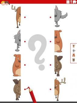 Combina mitades de imágenes con tareas educativas de animales salvajes