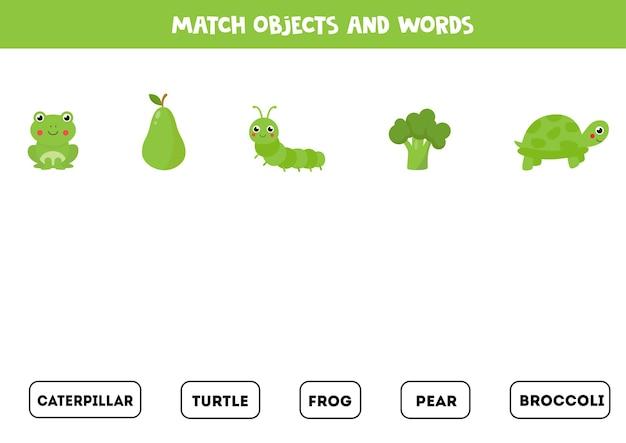 Combina objetos verdes con objetos escritos. hoja de trabajo educativa para niños.