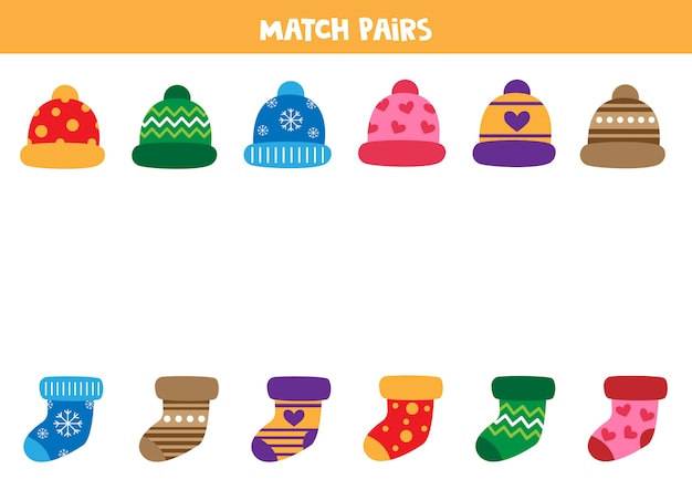 Combina pares de gorras y calcetines. hoja educativa para niños.