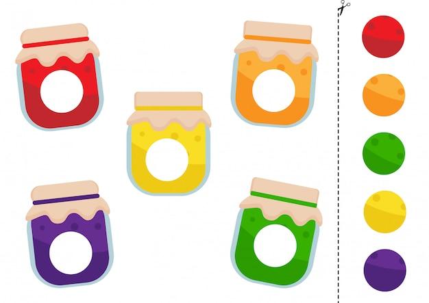 Combina partes de frascos de mermelada coloridos juego de lógica para niños.