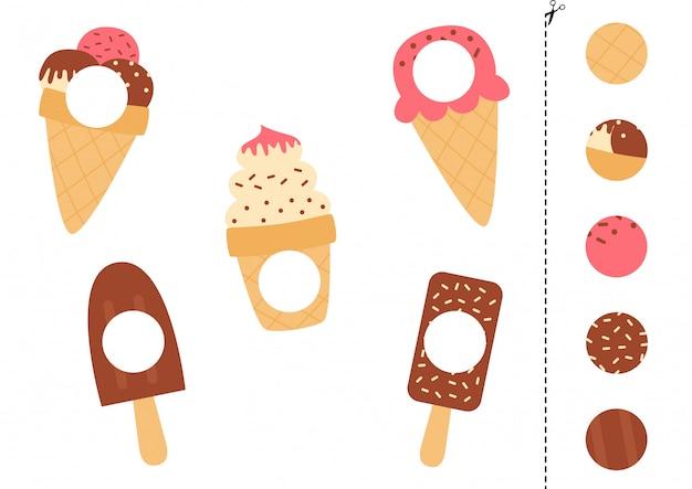 Combina partes de los helados. juego lógico educativo.