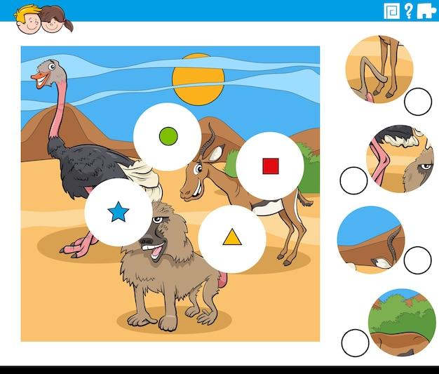 Combina la tarea de piezas con personajes de animales de dibujos animados