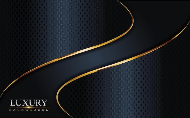 Combinación azul marino oscuro de lujo con fondo de líneas doradas. elemento gráfico.