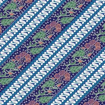 Combinación batik indonesia con color azul dominante.