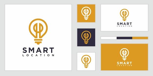 Combinación de bombilla inteligente con logotipo de ubicación simple