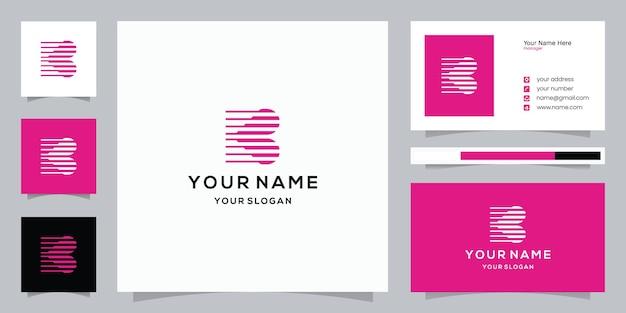 Combinación de diseño de letra b y logotipo de amor y plantilla de tarjeta de visita