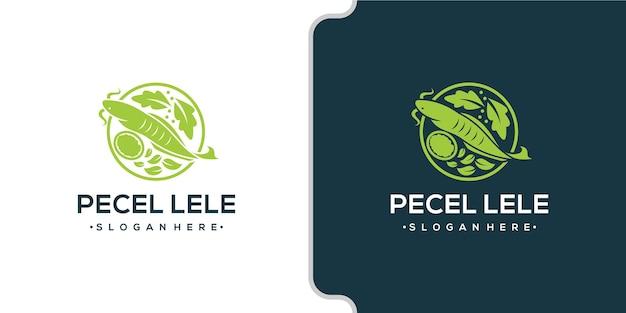 Combinación de diseño de logo de verduras y pescado
