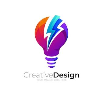 Combinación de diseño de logotipo de bombilla y trueno, iconos de colores