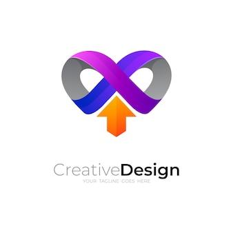Combinación de diseño de logotipo y flecha de amor, logotipo de corazón médico, iconos arriba