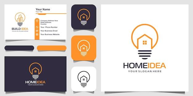 Combinación de diseño de logotipo de hogar y bombilla con estilo de arte lineal