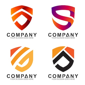Combinación de escudo emblema / insignia con diseño de logotipo inicial / letra s