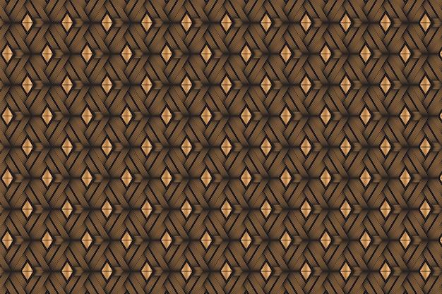 Combinación de línea de curva diagonal y patrón de forma triangular con degradado dorado y colores negros.
