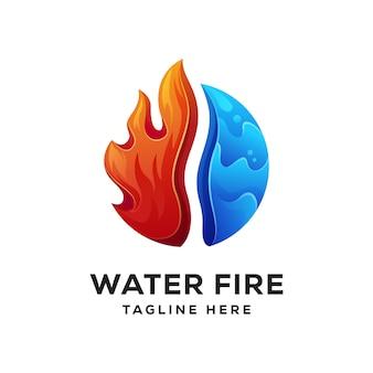 Combinación de logo de fuego de agua