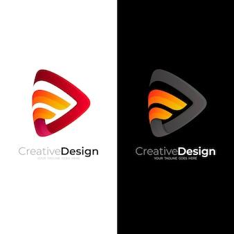 Combinación de logo de play y logo de letra f
