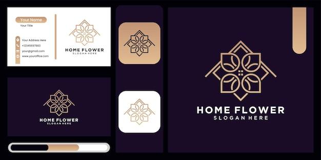 La combinación del logotipo de la casa y la flor de la hoja en el concepto de naturaleza logotipo de la casa de la hoja en oro lujoso