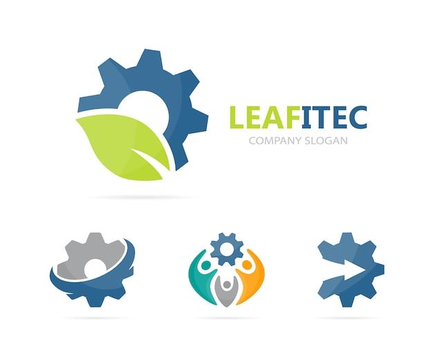 Combinación de logotipo de engranaje y hoja.