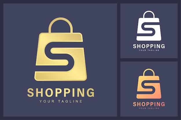 Combinación del logotipo de la letra s y el símbolo de la bolsa de compras.