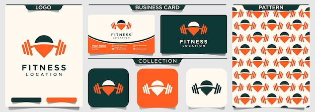 Combinación de logotipo de puntero de mapa y deporte.